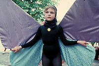Butterfly girl performs in the annual Parade on the Circle, Cleveland, OH. Cleveland Ohio USA University Circle.