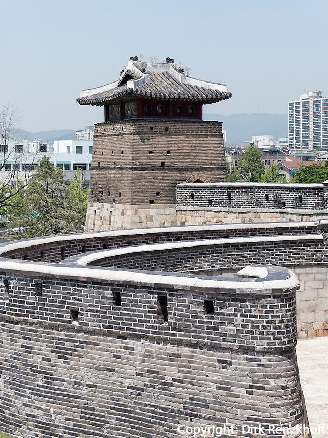 Seobukgongsimdon Pavillon der Festung von Suwon, Provinz Gyeonggi-do, Südkorea, Asien, Unesco-Weltkulturerbe<br /> pavilion Seobukgongsimdon in fortress Hwaseong, Suwon, Province Gyeonggi-do, South Korea Asia, UNESCO World-heritage