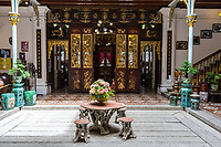 Peranakan Mansion, View from Inner Courtyard toward Front Entry Room for Welcoming Guests, George Town, Penang, Malaysia.
