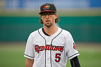 Rochester Red Wings Drew Maggi (5) before an International League game against the Buffalo Bisons on May 31, 2019 at Frontier Field in Rochester, New York.  Rochester defeated Buffalo 5-4 in ten innings.  (Mike Janes/Four Seam Images)