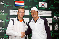 18-9-08, Netherlands, Apeldoorn, Tennis, Daviscup NL-Zuid Korea, Draw in cityhall,  First Match on friday Thiemo de Bakker vs HyungTaik Lee