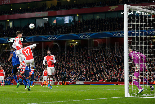 25.02.2015.  London, England. Champions League Football. Arsenal versus AS Monaco.  Arsenal's Olivier Giroud misses another chance