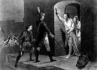 Ethan Allen and Capt. de la Place.  May 1775.  The capture of Fort Ticonderoga, NY. Copy of engraving after Alonzo Chappel. (Army)<br /> Exact Date Shot Unknown<br /> NARA FILE #:  111-SC-94758<br /> WAR & CONFLICT #:  12