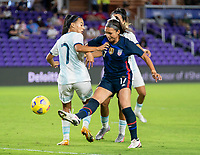 ORLANDO, FL - FEBRUARY 24: Sophia Smith #17 of the USWNT takes a shot during a game between Argentina and USWNT at Exploria Stadium on February 24, 2021 in Orlando, Florida.