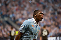 Kansas City, KS - Wednesday August 9, 2017: Jimmy Medranda, celebrate, celebration during a Lamar Hunt U.S. Open Cup Semifinal match between Sporting Kansas City and the San Jose Earthquakes at Children's Mercy Park.