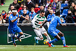 Damian Suarez of Getafe CF (L) fights for the ball with Enrique Garcia of SD Eibar (C) during the La Liga 2017-18 match between Getafe CF and SD Eibar at Coliseum Alfonso Perez Stadium on 09 December 2017 in Getafe, Spain. Photo by Diego Souto / Power Sport Images