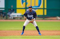 Corpus Christi Hooks infielder Osvaldo Duarte (6) readies for a pitch Wednesday, May 1, 2019, at Arvest Ballpark in Springdale, Arkansas. (Jason Ivester/Four Seam Images)