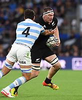 12th September 2021; Cbus Super Stadium, Robina, Queensland, Australia; Rugby International series, New Zealand versus Argentina:  Brodie Retallick tackled by Petti Pagadizabal