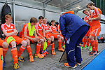 GER - Mannheim, Germany, May 25: During the U16 Boys match between The Netherlands (orange) and Germany (black) during the international witsun tournament on May 25, 2015 at Mannheimer HC in Mannheim, Germany. Final score 3-4 (1-2). (Photo by Dirk Markgraf / www.265-images.com) *** Local caption ***