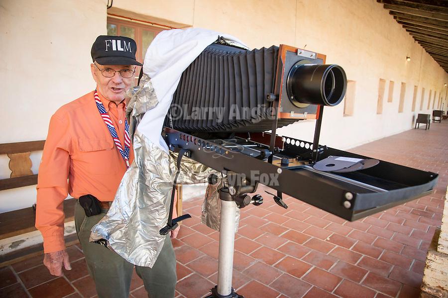 24th and final Al Weber Rendezvous portfolio viewing workshop, Missión San Antonio de Padua, Calif...Jim Noel with his 8x10 camera
