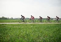 Team BMC training over the cobbles<br /> <br /> 2014 Paris-Roubaix reconnaissance