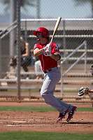 Cincinnati Reds first baseman Nick Longhi (29) during a Minor League Spring Training game against the Chicago White Sox at the Cincinnati Reds Training Complex on March 28, 2018 in Goodyear, Arizona. (Zachary Lucy/Four Seam Images)