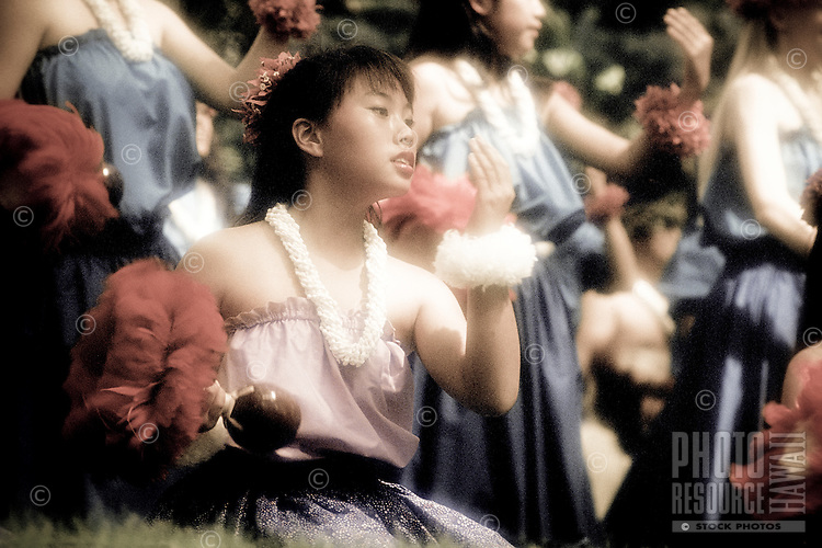 Young hula performers at Prince Lot festival, Oahu