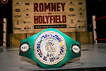 Chris Detrick  |  The Salt Lake Tribune<br /> The Title belt at Xcel Fitness Thursday May 14, 2015. Mitt Romney will fight former heavyweight boxing champion Evander Holyfield in the marquee event Friday night at the Rail Event Center near the Union Pacific Depot in Salt Lake City on May 15.
