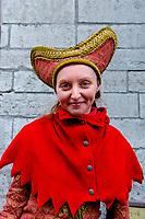 Estonia, Tallinn, Old town, UNESCO World Heritage Site. Restaurant workers in costume.