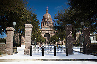 A freak Austin snow storm paints the Texas State Capitol in a white blanket of snow on a cold winter morning.