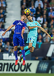 Gabriel Appelt Pires (l) of CD Leganes battles for the ball with Sergio Busquets Burgos of FC Barcelona  during the La Liga 2017-18 match between CD Leganes vs FC Barcelona at Estadio Municipal Butarque on November 18 2017 in Leganes, Spain. Photo by Diego Gonzalez / Power Sport Images