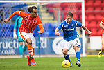 St Johnstone v Blackpool...25.07.15  McDiarmid Park, Perth.. Pre-Season Friendly<br /> Chris Millar is closed down by Charles Dunne<br /> Picture by Graeme Hart.<br /> Copyright Perthshire Picture Agency<br /> Tel: 01738 623350  Mobile: 07990 594431