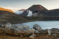 Sunset over Blue Lake and Mount Ngaruhoe, Tongariro National Park, Central Plateau, North Island, UNESCO World Heritage Area, New Zealand, NZ