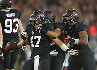 Stanford, California - Saturday, October 5, 2013: The Stanford football team defeated the University of Washington 31-28 at Stanford Stadium. A.J. Tarpley celebrates after intercepting a pass.
