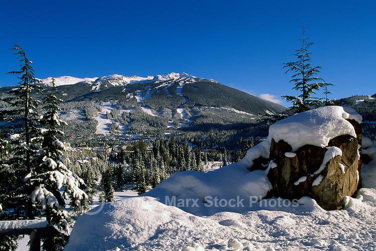 Whistler, BC, British Columbia, Canada - Winter Scenery and Ski Runs on Blackcomb Mountain