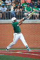 Logan Sherer (25) of the Charlotte 49ers follows through on his swing against the Marshall Thundering Herd at Hayes Stadium on April 23, 2016 in Charlotte, North Carolina. The Thundering Herd defeated the 49ers 10-5.  (Brian Westerholt/Four Seam Images)