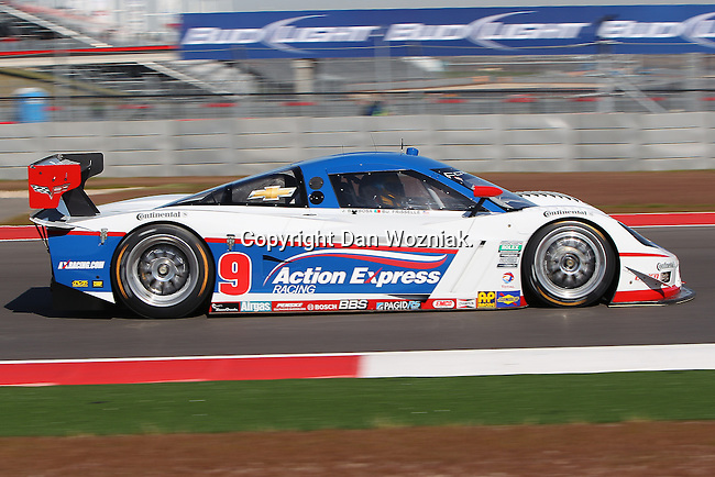 Burt Frisselle (9), Driver of Action Express Racing Corvette in action during the Grand-Am of the Americas practice and qualifying sessions at the Circuit of the Americas race track in Austin,Texas...