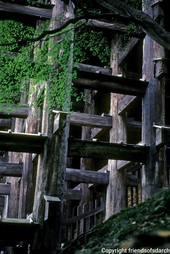 Kyoto: Todaiji Temple--buttresses. Photo '81.