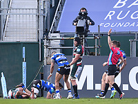 18th April 2021 2021; Recreation Ground, Bath, Somerset, England; English Premiership Rugby, Bath versus Leicester Tigers; Will Muir of Bath scores a try in the corner to put Bath ahead in the last minute of the match