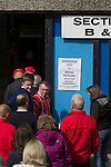 Edinburgh City 1 Brora Rangers 1, 25/04/2015. Commonwealth Stadium, Pyramid play-off 1st leg. Spectators queuing at the turnstiles before the first-ever pyramid play-off match between Edinburgh City and Brora Rangers at the Commonwealth Stadium, Meadowbank. Lowland League champions Edinburgh City and Highland League champions Brora both progressed to a play-off to decide whether there would be a club promoted to the Scottish League for the first time in its history. The match ended in a 1-1 draw, the second leg was held the following week in Brora. Photo by Colin McPherson.
