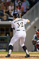 Josh Richmond (32) of the Charlotte Knights at bat against the Gwinnett Braves at BB&T Ballpark on August 19, 2014 in Charlotte, North Carolina.  The Braves defeated the Knights 10-5.   (Brian Westerholt/Four Seam Images)