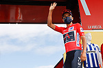 Race leader Richard Carapaz (ECU) Ineos Grenadiers at sign on before the start of Stage 7 of the Vuelta Espana 2020 running 159.7km from Vitoria-Gasteiz to Villanueva de Valdegovia, Spain. 27th October 2020.  <br /> Picture: Luis Angel Gomez/PhotoSportGomez | Cyclefile<br /> <br /> All photos usage must carry mandatory copyright credit (© Cyclefile | Luis Angel Gomez/PhotoSportGomez)