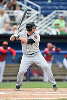 Connecticut Tigers first baseman Jacob Kapstein (18) at bat during the first game of a doubleheader against the Batavia Muckdogs on July 20, 2014 at Dwyer Stadium in Batavia, New York.  Connecticut defeated Batavia 5-3.  (Mike Janes/Four Seam Images)