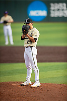 Vanderbilt Commodores starting pitcher Jack Leiter (22) looks to his catcher for the sign against the Tennessee Volunteers on Robert M. Lindsay Field at Lindsey Nelson Stadium on April 17, 2021, in Knoxville, Tennessee. (Danny Parker/Four Seam Images)