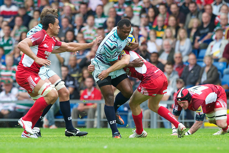 Vereniki Goneva of Leicester Tigers is tackled during the Aviva Premiership match between London Welsh and Leicester Tigers at the Kassam Stadium on Sunday 2nd September 2012 (Photo by Rob Munro)
