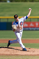 Mesa Solar Sox starting pitcher Justin Steele (45), of the Chicago Cubs organization, delivers a pitch during an Arizona Fall League game against the Salt River Rafters at Sloan Park on October 30, 2018 in Mesa, Arizona. Salt River defeated Mesa 14-4 . (Zachary Lucy/Four Seam Images)