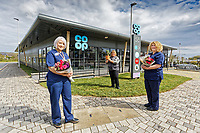 Withybush Hospital nurses Ann Armstrong (L) and Sally Leyshon-Owen (R) with store manager Louise Hughes (C).