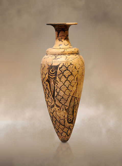 Minoan conical rhython decorated with dolphins against a net pattern , Special Palatial Tradition, Pseira  1500-1400 BC BC, Heraklion Archaeological  Museum.