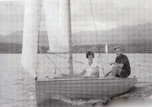 Christine and Brian Kennedy sailing a 14ft Merlin, which he'd built to his own design, on Lake Khadakvasla in India