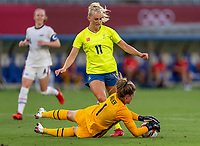 TOKYO, JAPAN - JULY 21: Alyssa Naeher #1 of the USWNT saves shot during a game between Sweden and USWNT at Tokyo Stadium on July 21, 2021 in Tokyo, Japan.