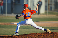 Glenn Bobcats pitcher Logan McNeill (10) in action against the Mallard Creek Mavericks at Dale Ijames Stadium on March 22, 2017 in Kernersville, North Carolina.  The Bobcats defeated the Mavericks 12-2 in 5 innings.  (Brian Westerholt/Four Seam Images)