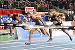 Terrence Trammel wins the men's 50 meter hurdles at the first U.S. Open on January 29, 2012 at Madison Square Garden in New York, New York.  (Bob Mayberger/Eclipse Sportswire)