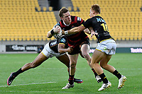 Dallas McLeod of Canterbury is tackled by Ruben Love of Wellington during the Bunnings NPC - Wellington v Canterbury at Sky Stadium, Wellington, New Zealand on Friday 8 October 2021.<br /> Photo by Masanori Udagawa. <br /> www.photowellington.photoshelter.comto