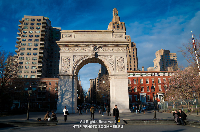 People in Washington Square Park and arch, Manhattan, New York City