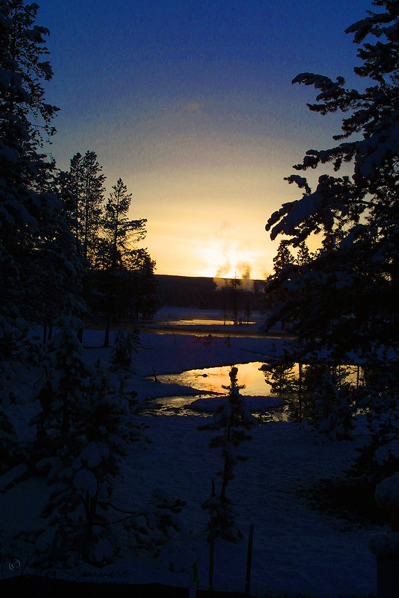Early spring sunset along the Gibbon River at Elk Park, thermal area in the background. Between Norris and Madison on the Lower Grand Loop road.