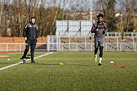 Pictured: Marlon Jackson (R) trains. Thursday 18 January 2018<br /> Re: Players and staff of Newport County Football Club prepare at Newport Stadium, for their FA Cup game against Tottenham Hotspur in Wales, UK