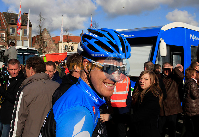 Garmin-Barracuda team sprinter Tyler Farrar (USA) at sign on before the start of the 96th edition of The Tour of Flanders 2012 in Bruges Market Square, running 256.9km from Bruges to Oudenaarde, Belgium. 1st April 2012. <br /> (Photo by Steven Franzoni/NEWSFILE).