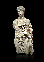 Roman statue of a Man. Marble. Perge. 2nd century AD. Inv no 2016/154. Antalya Archaeology Museum; Turkey. Against a black background.