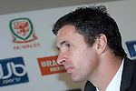 Gary Speed is unveiled as Manager of the Welsh National Football Team during a press conference at the Vale Hotel and Resort in Cardiff today