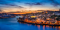 Colorful sunset on the old city and the Douro River from Miradouro da Ribeira viewpoint near Ponte Luis Bridge, in Porto, Portugal Europe
